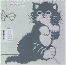 СХЕМА.  Котенок с бантиком.  Монохром.  Вышивка крестом, схемы.
