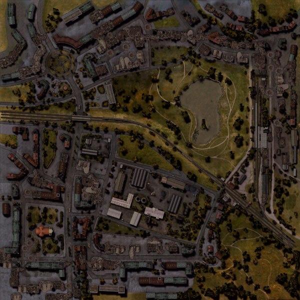 В Мюнхене же...  В центре карты озеро и небольшая поляна.  Город как бы обтекает это место со всех сторон.