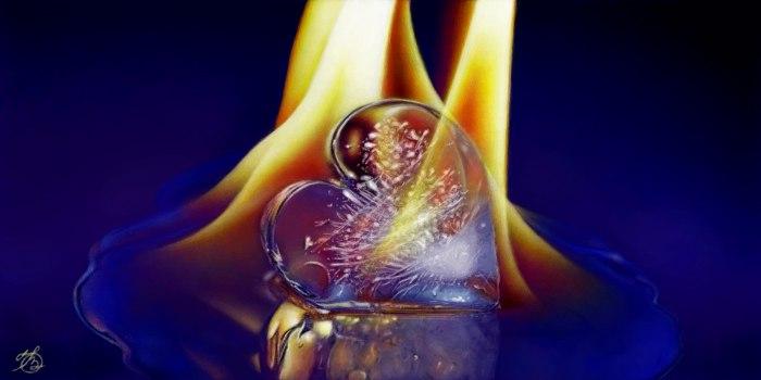 Живое граффити ледяное сердце в огне рисунок