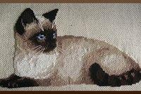 Тайская кошка. рукоделие. кошки.  Набор Риолис, шерсть, канва лён. вышивка крестиком. ручная работа.