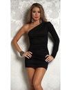 Короткое платье AM:PM Sleek One Sleeve Open Shoulder Ruched 4710.
