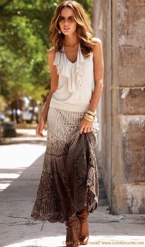 Длинная юбка крючком.