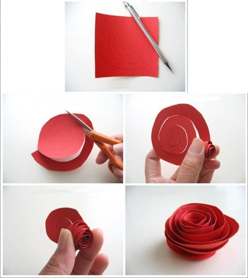 Поделки роза из бумаги