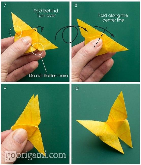 Бабочка из бумаги оригами своими руками 3