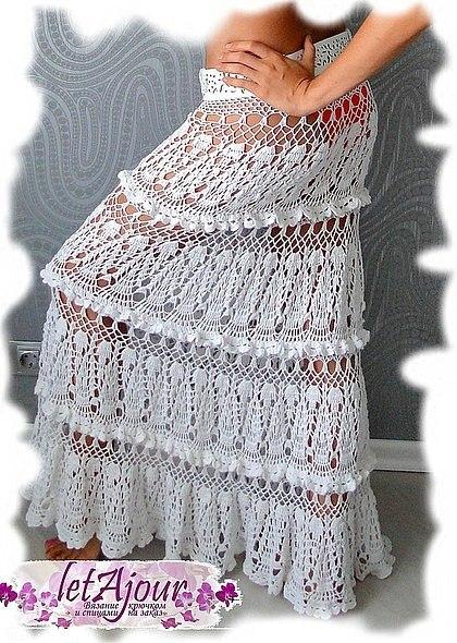 ажурное платье крючком на выпускной