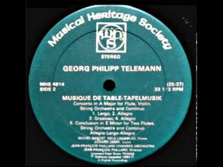 Georg Philipp Telemann Tafelmusik -  Concerto in A Major For Flute, Violin, Continuo