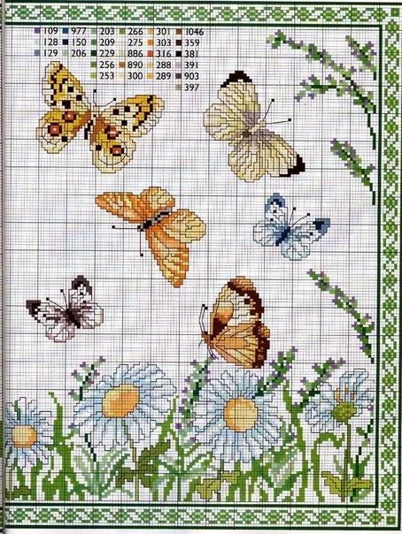 Схемы для вышивки, бабочки