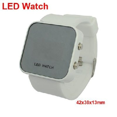 Red Led Digital Binary Wrist Watch With White Silicone Band.