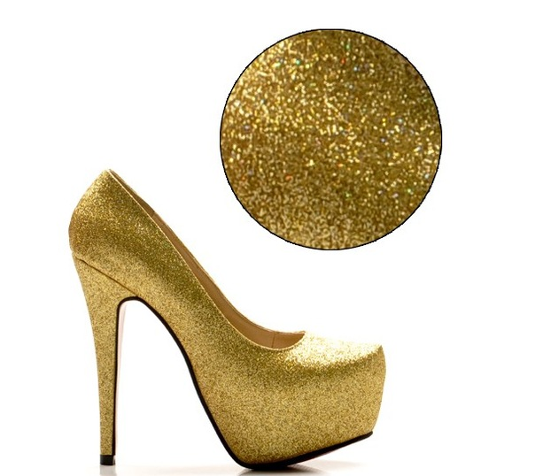 Luxury Pure Color Twinkle Vamp High Heel Pump Золотой i1031927