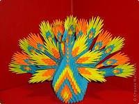 Павлинчик, вид сбоку.  Оригами модульное.  Техника.