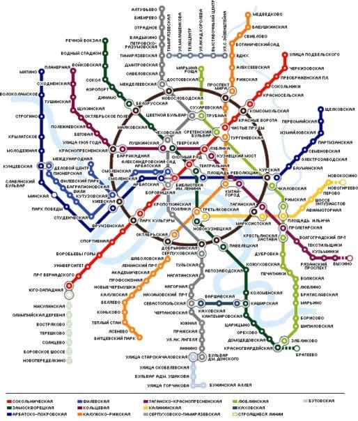 Схема метро Москвы 1980 и 2012