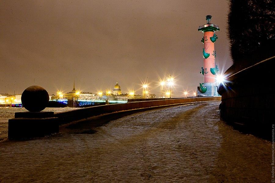 Ночной Петербург Стрелка Васильевского острова