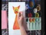 Рисование для детей 5-8 лет. Кот на коврике гуашью