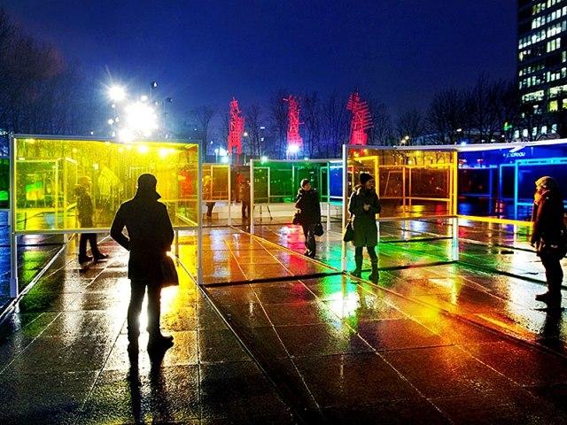 кольоровий парк зі скла - золотий пензлик