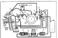 """Рис. 4. Схема системы впрыска топлива  """"K-Jetronic """": 1 - топливный бак, 2 - топливный насос, 3 - накопитель топлива, 4..."""