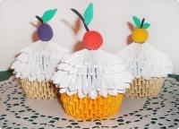 мастер-класс, поделка, изделие оригами модульное: фруктово-ягодные пироженки к чаю бумага. фото 1.