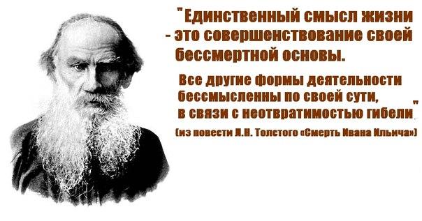 Толстой единственный смысл жизни человека