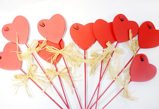 Как сделать сердечки из бумаги на палочке - Arturdina.ru