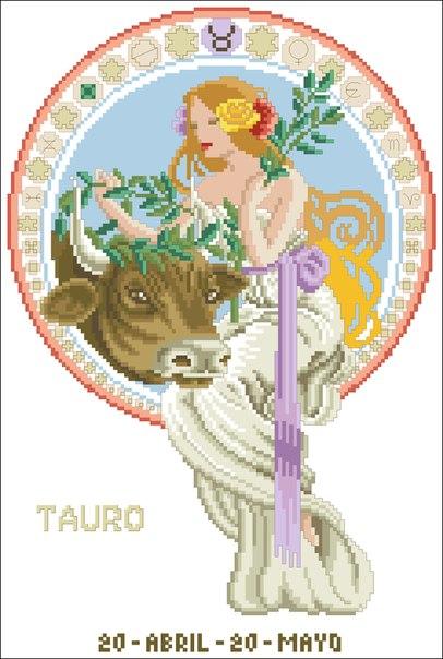 "Схема вышивки  ""Знаки зодиака-телец "": таблица цветов."