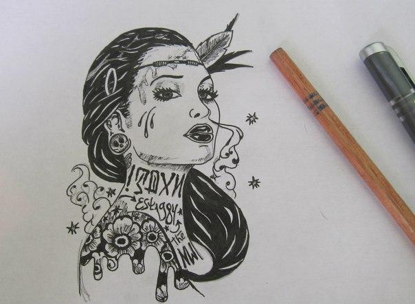 Рисунки ловец снов гелевой ручкой