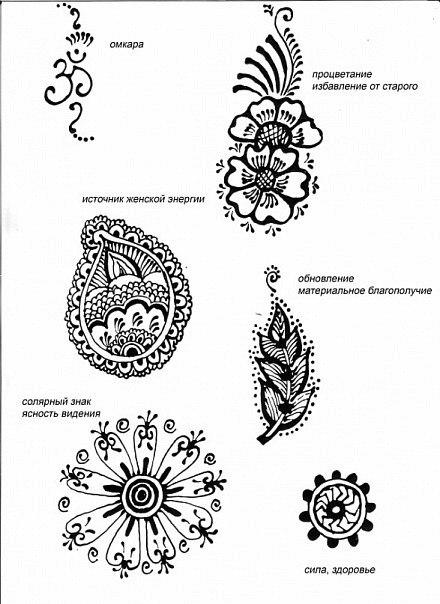 Рисунки мехенди на руках и их значения