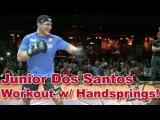 Джуниор Дос Сантос - бой с тенью, работа по лапам.