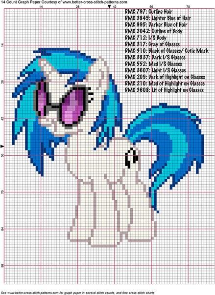 Схема вышивки пони Винил
