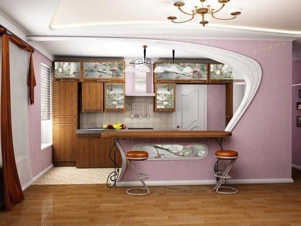 Зонирование гостиной и кухни Эта отличная  идея  если  кухня  большая.
