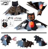 Хэллоуин приближается, и мы предлагаем вам сделать украшение - летучую мышь из бумаги.  Для этого вам надо...