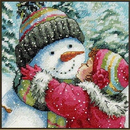 Поцелуй снеговика.  Ручная вышивка.  Рождественская серия. cs_xmas007.
