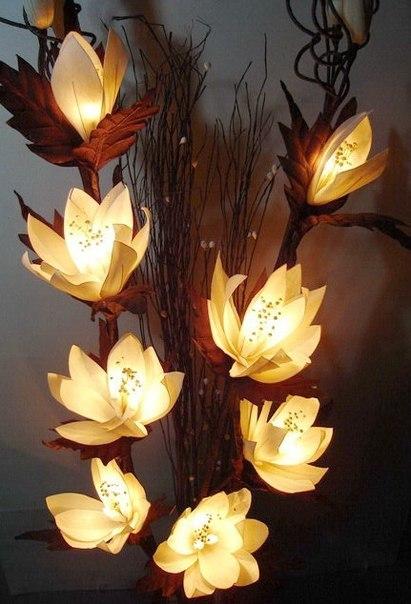 Светильник цветы из капрона