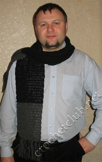 Вязаный черно-серый шарфик от Раисы.  Размер: длина шарфа 140 см, длина бахромы 10 см. Потребовалось...