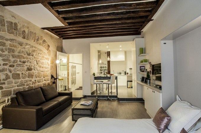 Дизайн квартиры-студии 35 м в Париже / Франция - http://kvartirastudio.