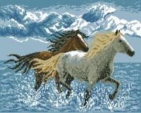 Схема для вышивки панно - кони.  Для работы рекомендуются нити коричневых, серых и голубых оттенков...