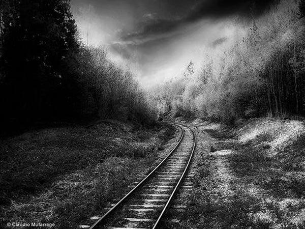 Железная дорога, скачать бесплатно черно-белые картинки и фотографии.
