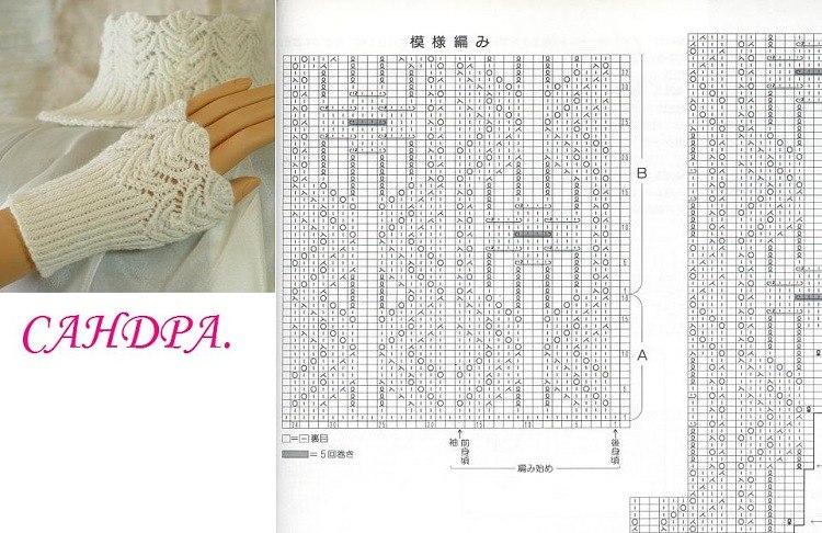 Схемы для вязания митенки спицами 193