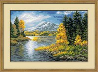 1235 (Риолис) Озеро в горах.  Набор для вышивания, счетный крест.  60х40 см. Аида.  Нитки: шерсть (29 цветов)...