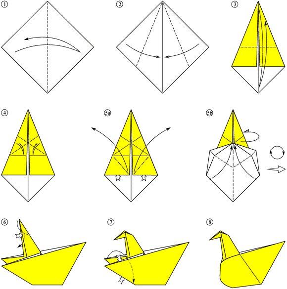 Схема оригами птицы - ваш запрос