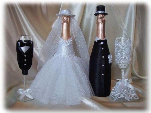Как сделать оформление шампанского на свадьбу своими руками