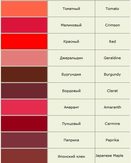 Названия цветов и оттенков.