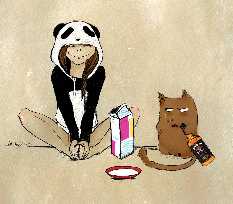 Фото девушки с головой панды