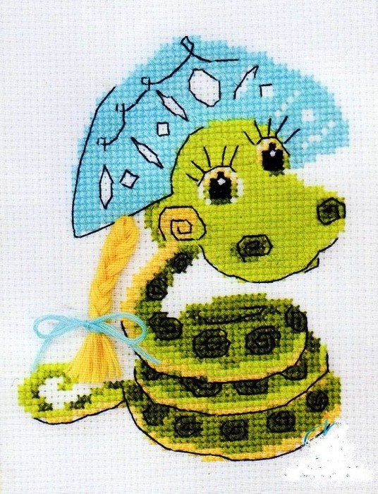 Змеи -символ 2013 года.Вышивка