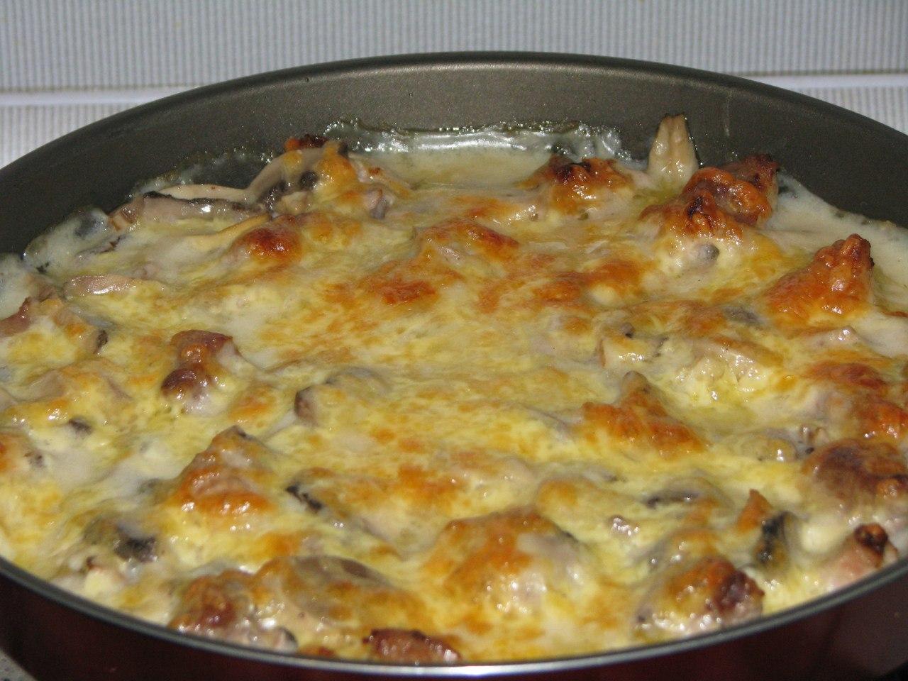 Мясо с грибами запеченное рецепт пошагово в