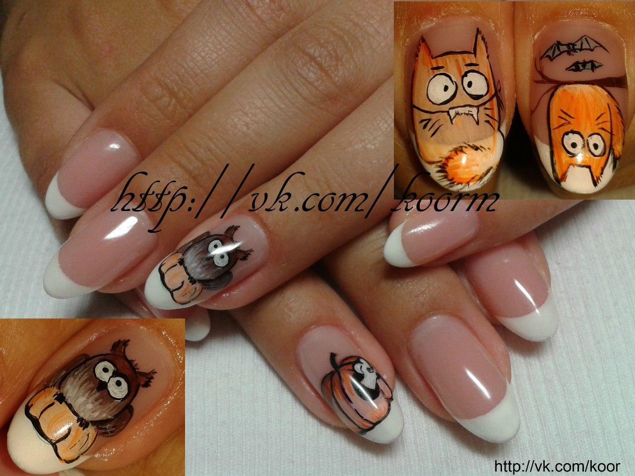 Лапки и котик на ногтях фото