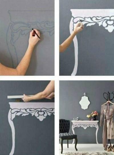 Идея для столика. На стену вешается полка желаемой ширины, на стене дорисовываем ножки стола. #DIY_Идеи