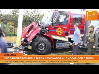 Bomberos quillotanos chocaron con camión cuando iban a un accidente