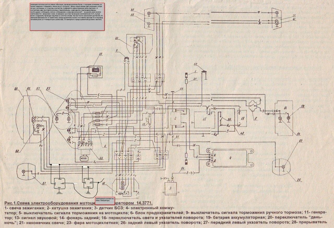 схема электрооборудования Мотоцикла Урал 12 вольт #9