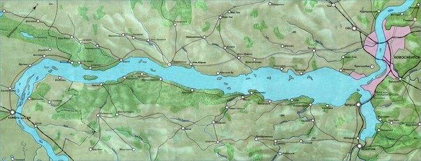 Карта реки Обь от г. Камень-на-Оби до Новосибирского гидроузла (Новосибирское водохранилище) .