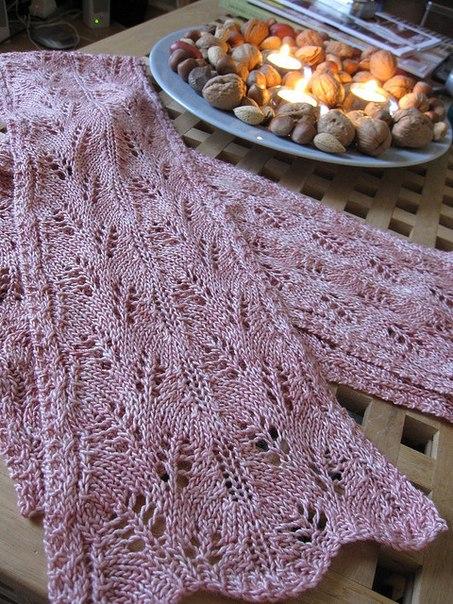 Ажурные шарфы спицами.
