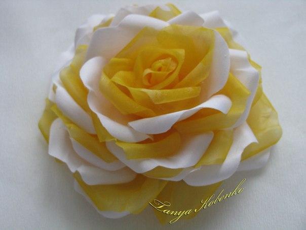 Роза сочетание ткани атлас и шифон